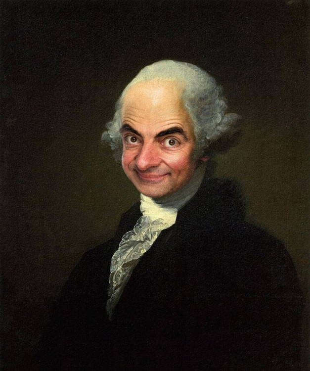 Obra de George Washington con la cara de Mr. Bean