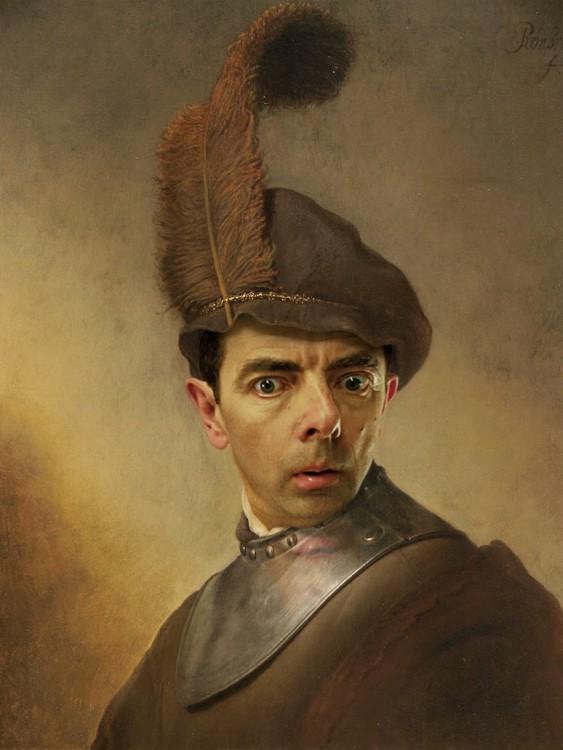 Retrato de un viejo en traje militar con la cara de Mr. Bean