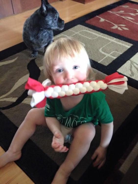 Niño con juguetes de hueso de perro