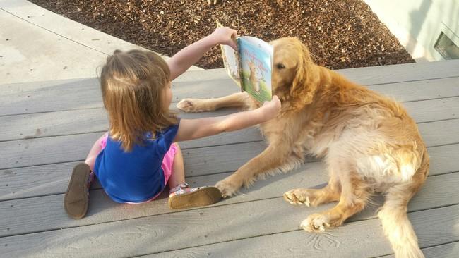 Niña mostrando un libro a un perro