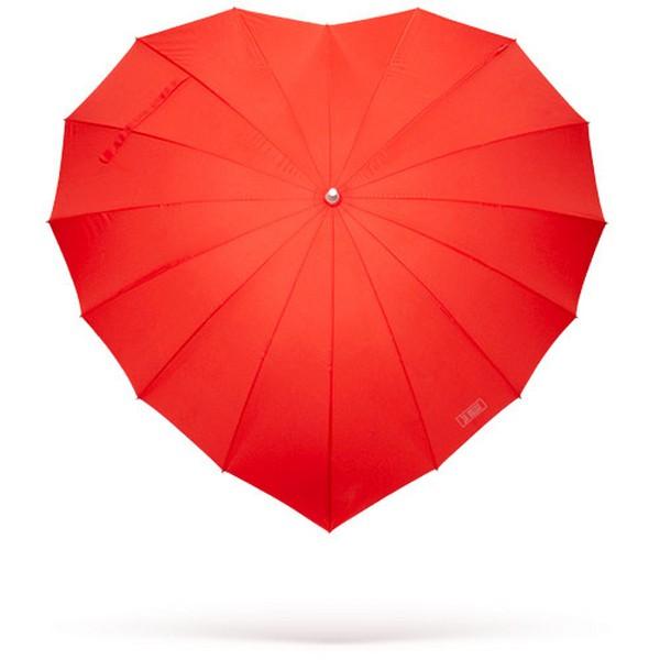 Paraguas con diseño de corazón rojo