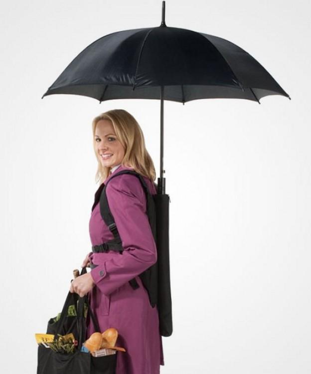 Paraguas con diseño de mochila