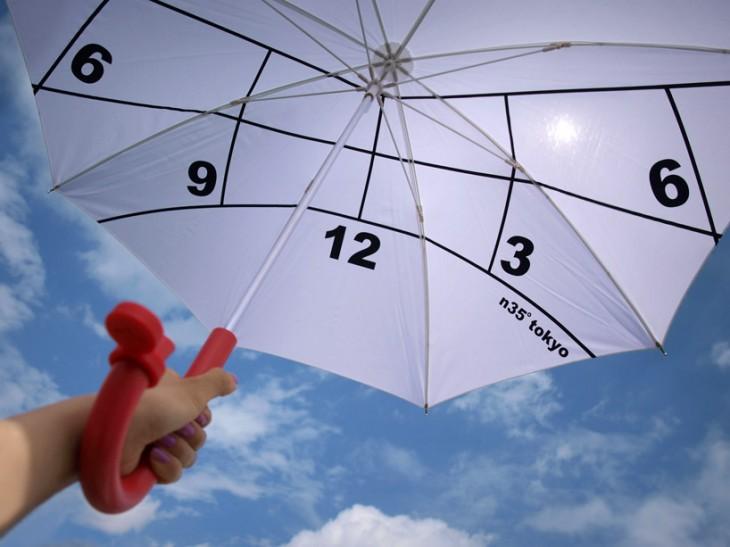 Paraguas con diseño de reloj