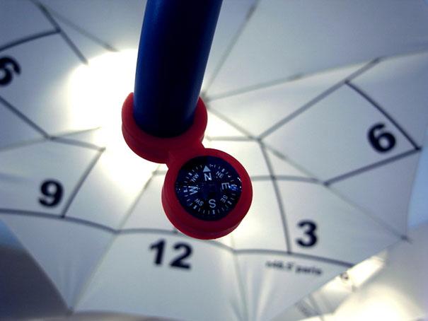 Paraguas con un diseño de reloj y brújula