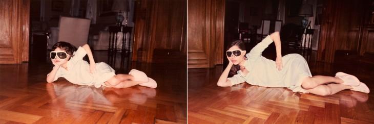 mujer posando con lentes sobre el piso