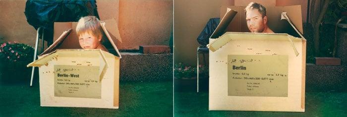 hombre dentro de una caja de carton