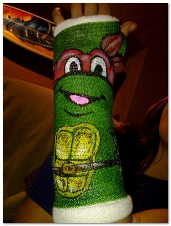 Yeso con diseño de tortuga ninja