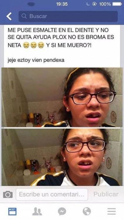niña con diente pintado pregunta en facebook si se puede morir