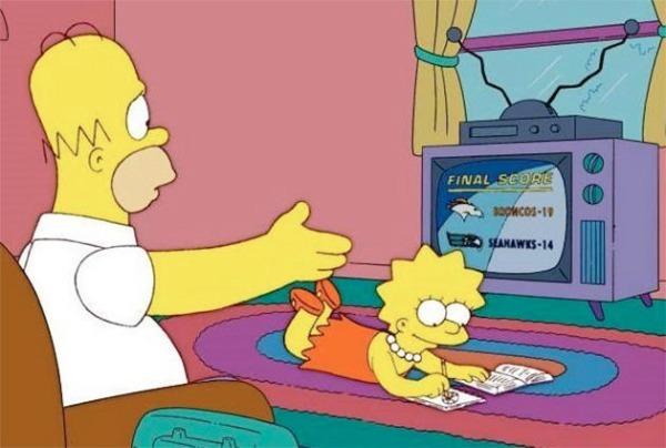 personajes de caricatura viendo la televisión