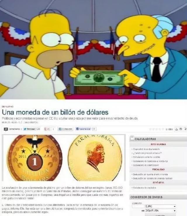 caricaturas sosteniendo un billete y abajo de ellos una noticia donde dice que existe una moneda con valor de un millón de dolares