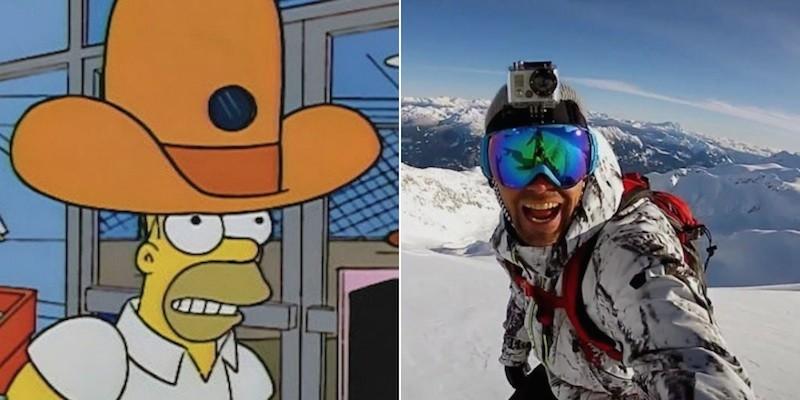 hombre y caricatura con una cámara de vídeo en el sombrero