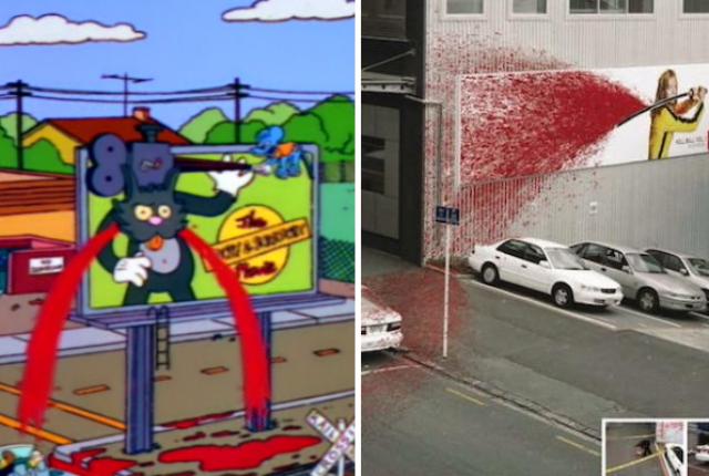 espectaculares publicitarios que anuncian películas y salpican sangre