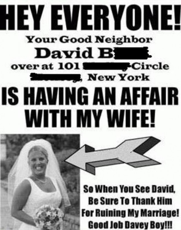 anuncio en el periodico con el mensaje de que su esposa fue infiel