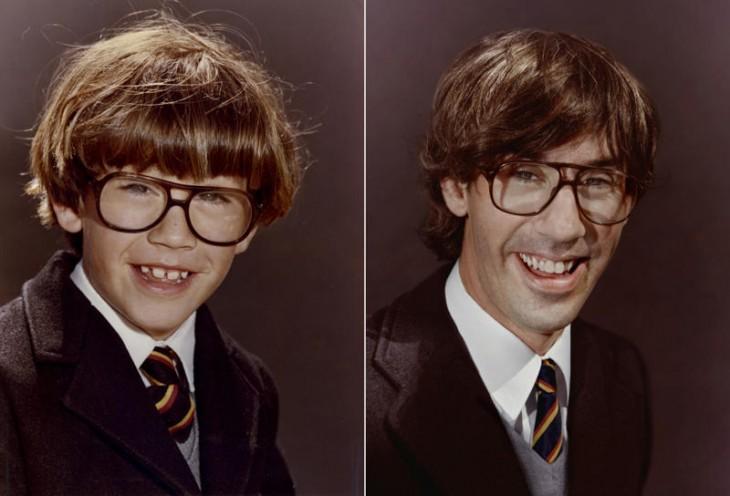 niño con lentes muy feliz en 1983