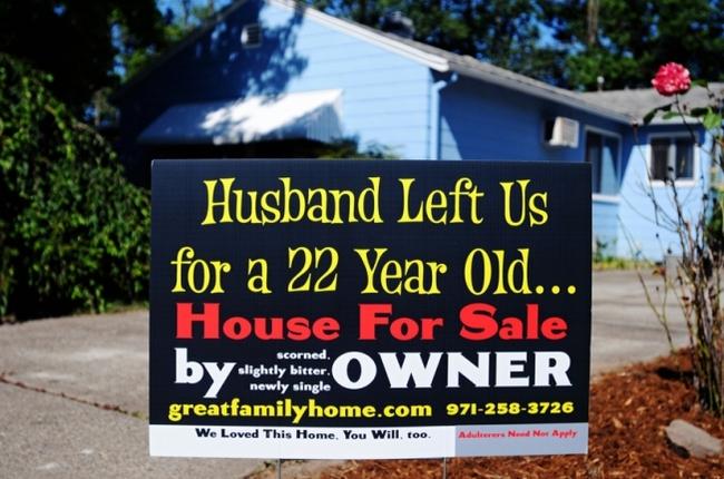letrero de un esposa a su esposo de venta de la casa