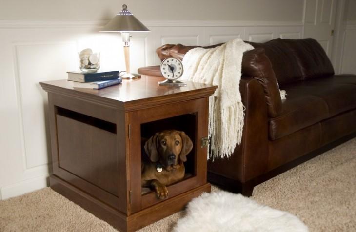 perro de color cafe dentro de un mueble que tiene una lampaa