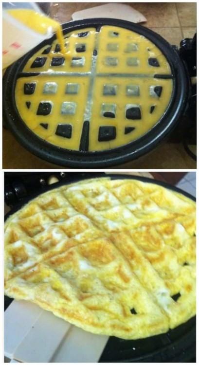 omelet en una waflera
