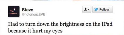 tuit quejandose del brillo del ipad para los ojos