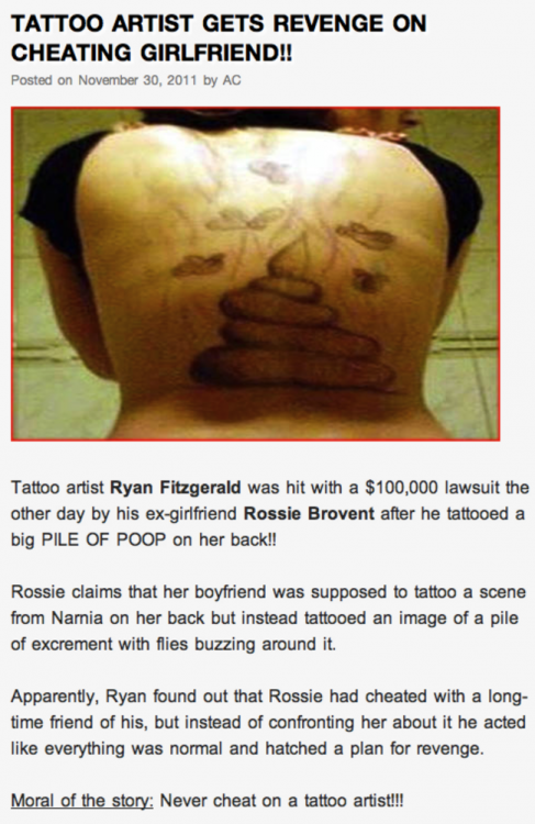 tatuaje en forma de popo que le hicieron a una mujer infiel