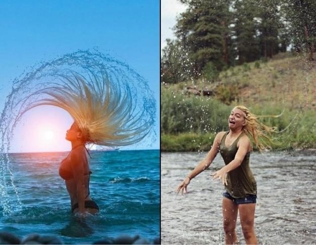 mujer agitando la cabeza al salir del agua