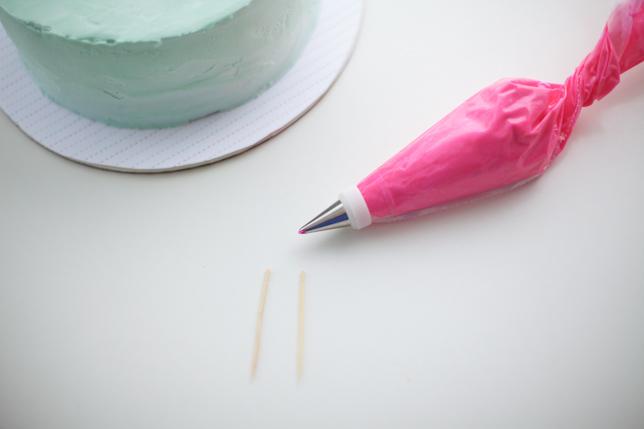 paso 1 palillo de dientes y decorador pastel