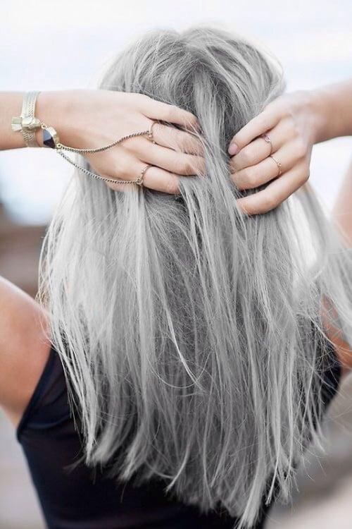 gray color hair cabello en color gris decoloración alta