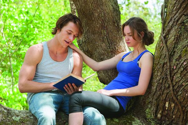 pareja platicando sobre la rama gruesa de un arbol