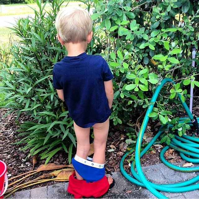 niño orinando en las plantas con todos los pantalones abajo