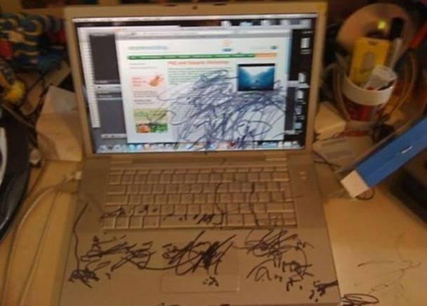 laptop pintada por un niño