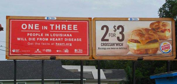 publicidad de mcdonalds se ve afectada por la del gobierno donde hablan de la obesidad