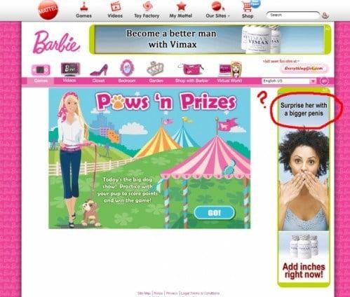 anuncio sobre penes en mujeres en pagina de barbie