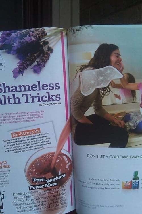 revista donde la mujer parece que esta enferma del estomago
