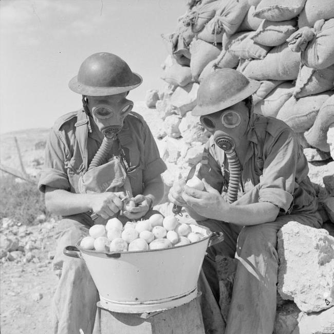 soldados pelando cebollas