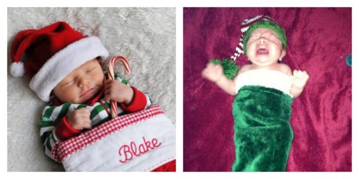 bebé llorando atorado en la botita de navidad