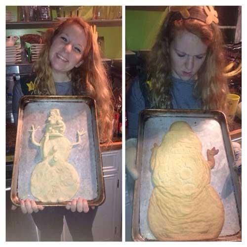 olaf de frozen en pastel mal horneado