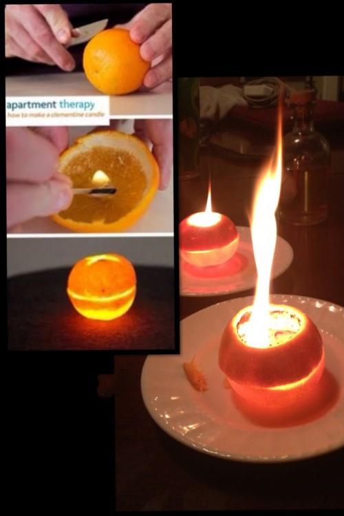 velas aromaticas de naranja mal elaboradas