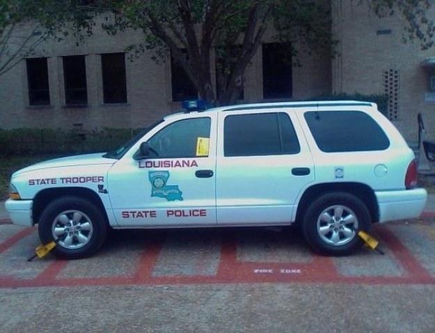 camioneta de la policia de luisiana es paralizada con arañas para evitar que se siga estacionando ahi