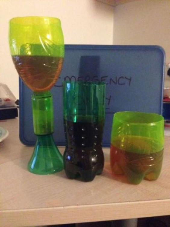 vasos hechos con botellas de plastico pet vacias