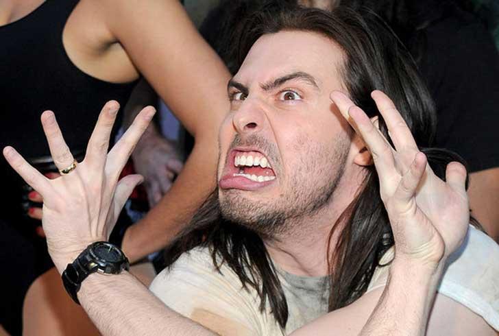 crazy men scream face