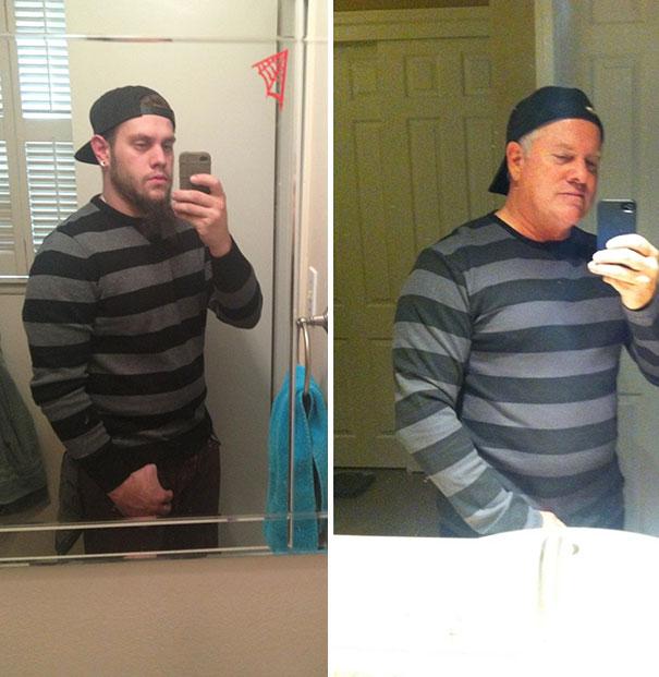 padre e hijo con selfie donde se parecen bastante