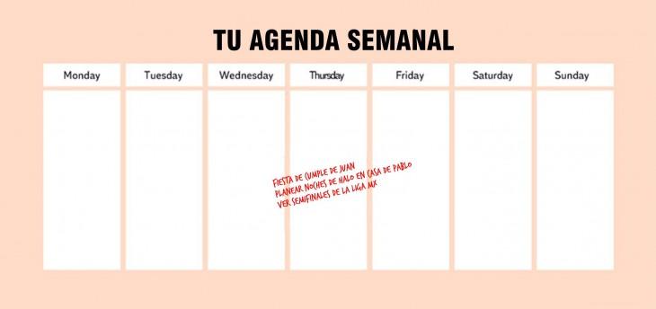 Calendario que muestra tus actividades durante la semana