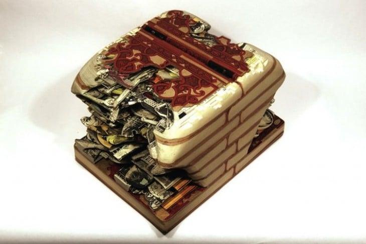 libro hecho arte con forma a lasagna