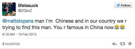 Tweet de un chino mandado a Matt Stopera