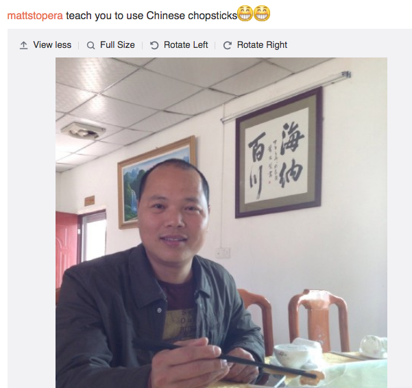 Fotografía del hermano naranja enviada por Weibo a Matt Stopera