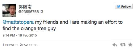 Tweet de una persona china mandado a Matt Stopera