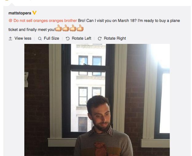 Tweet chino enviado por Matt al hermano naranja
