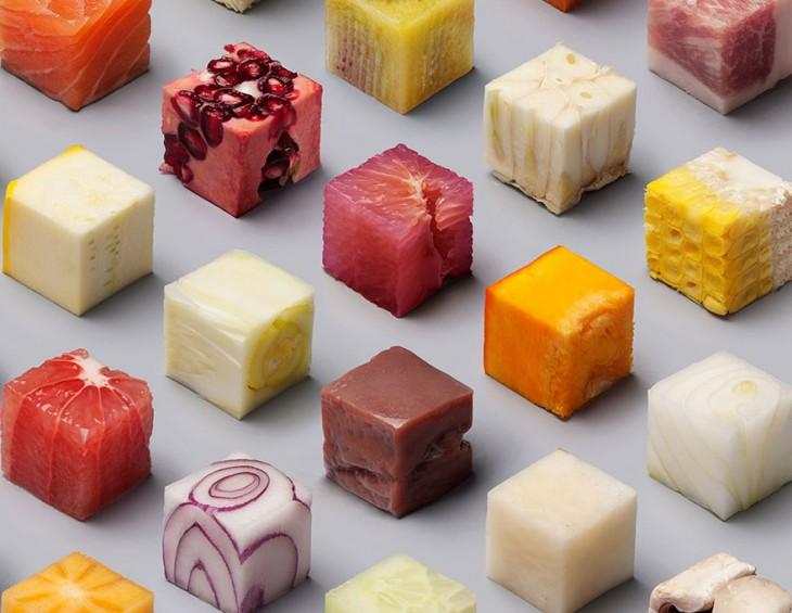 comida cortada en cubitos frutas