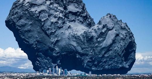 El tañano monumental de este meteorito comparado con una ciudad