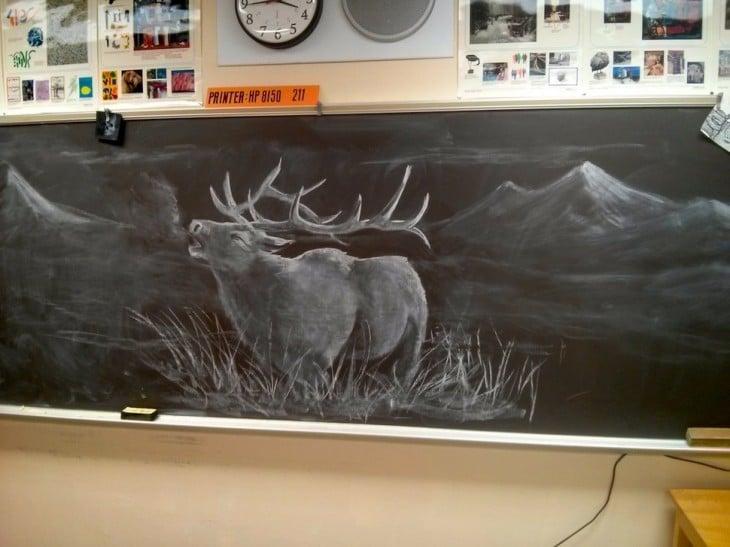 Dibujos en la pizarra de un animal en medio de un paisaje