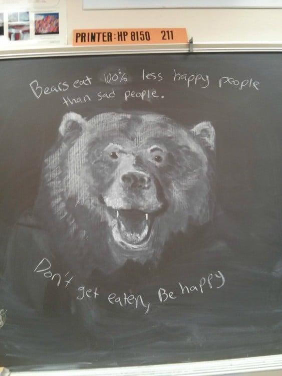 Dibujo de un oso con gis en una pizarra